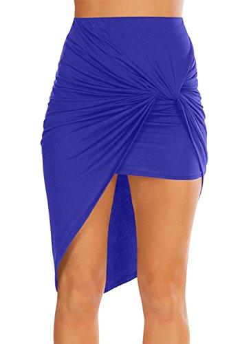 Les Femmes Bodycon Asymtrique Ruched Occasionnels De Bas en Haut, Jupe Serre Blue