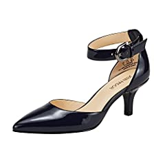 Leather Peep Toe Ankle Strappy Kitten heel Pointed Toe Pumps  Comfortable Mid Kitten Heel  Adjustable Ankle Buckle closure  Timeless Classic style  Pointed Toe Stiletto Pumps  Size Chart:  US 6 = EU 36.5, Fit feet length 9.1inch (23cm)  US 6...