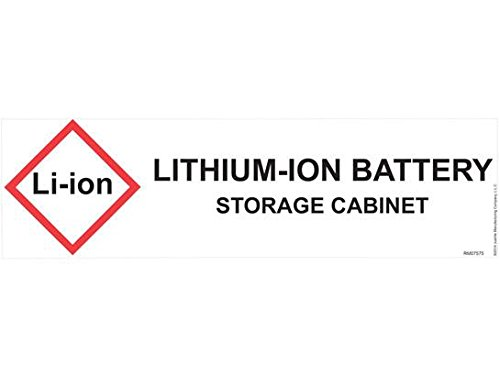 Lithium Ion Battery Storage Label for Hazardous Material Safety Cabinets