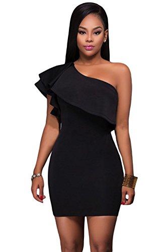 Nuevas señoras negro un hombro asimétrico de volantes Mini vestido Club desgaste verano vestido Casual vestido de fiesta tamaño M UK 10–�?2EU 40