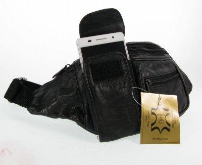 Marsupio Borsa Cintura # 6000da uomo in vera pelle nappa nero