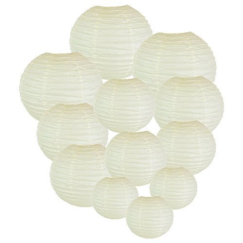 Just Artifacts Decorative Round Chinese Paper Lanterns 12pcs Assorted Sizes (Color: Ivory) (Paper Lantern Strings)