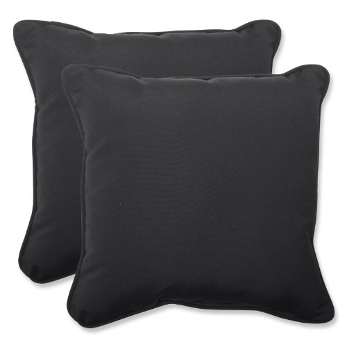 (Pillow Perfect Indoor/Outdoor 18.5-inch Throw Pillow (Set of 2) with Sunbrella Canvas Black Fabric, 18.5 in. L X 18.5 in. W X 5 in. D)