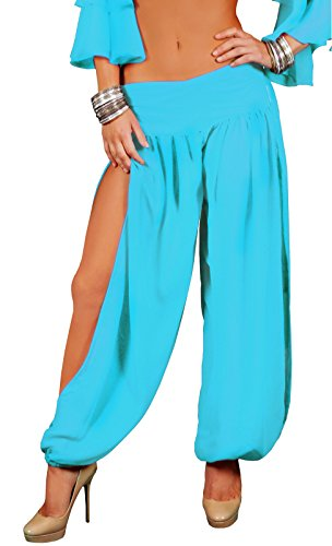Harem Dancer Adult Women Costumes (Adult Women's Plain Harem Pants Turquoise Blue (S/M))