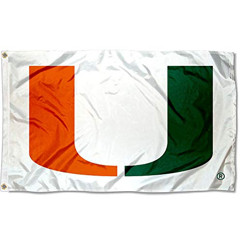 Miami Canes Large White 3x5 College Flag ()
