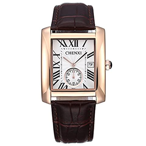 Men's Classic Analog Quartz Square Minimalist Thin Wrist Watch Business Casual Designer Scratch Resistant Face Leather Dress Band Sport Watched Waterproof - (Iced Out Square Watch)