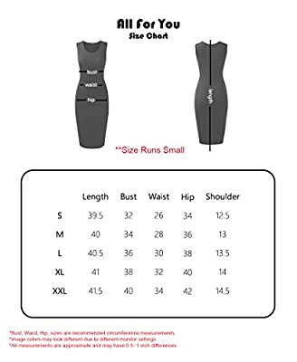 ALL FOR YOU Women's Slim Fit Sleeveless Tank Top Dress Made in USA