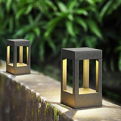 Meidn LED jardín al aire libre del anuncio del paisaje linterna Antioxidantes de aluminio fundido Vivienda tradicional Patio Luz impermeable IP55 Pilar Patio de la lámpara del jardín Baliza de suelo I: