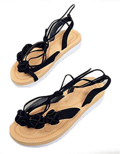 NEWZCERS La flor de las mujeres de la manera del verano rebordeó las sandalias planas negro