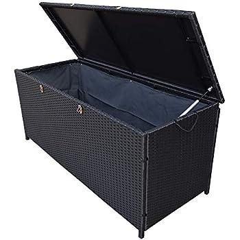 Amazon Com Jeco Wicker Patio Storage Deck Box In Black