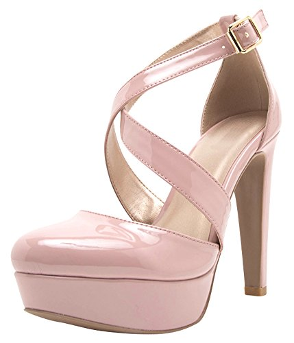 Cambridge Select Women's Closed Round Toe Crisscross Buckled Ankle Strap Chunky Platform High Heel Pump,7.5 B(M) US,Blush Patent Pu