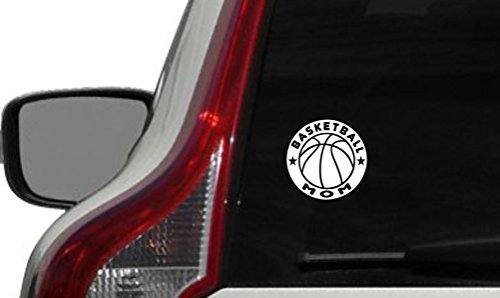 Basketball Mom Circle Car Vinyl Sticker Decal Bumper Sticker for Auto Cars Trucks Windshield Custom Walls Windows Ipad Macbook Laptop and More (WHITE)