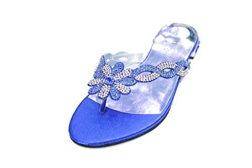 amp;W Wear Comfort W Evening SAN2502 UK Diamante Blue Lightweight Shoes Sandals amp; Ladies Party Walk Women Super Tr80Ixrn