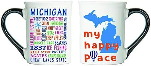 Cottage Creek Michigan Mug Large 18 Ounce Ceramic Michigan Coffee Mug//Michigan State Michigan Gifts White