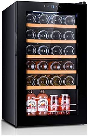 YFGQBCP Enfriador de vino Refrigerador, Caja de 24 botellas incorporado o autoportante libre de heladas Compresor de memoria vino Refrigeratorwith digital de control de temperatura for el blanco y roj