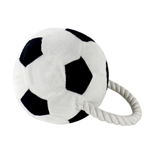 UEETEK Pet Plush Soccer Toys Dog Chew Toys Puppy Cats Cute Biting Football Toys (Black And White) ()