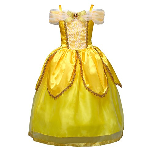 Dressy Daisy Girls Princess Belle Dress Up Costumes Halloween Fancy Party Dress Size 8 Yellow ()