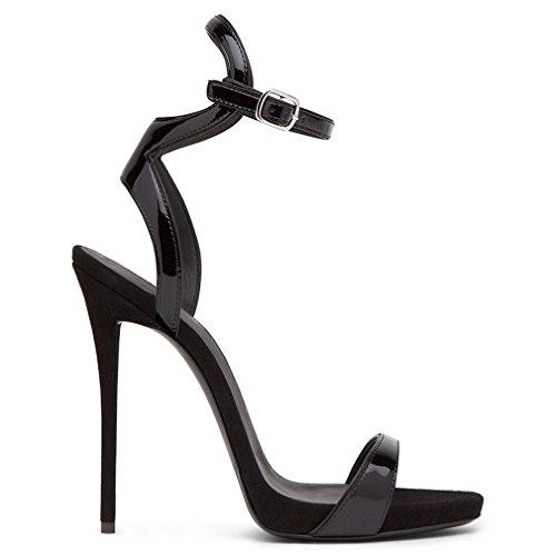 4 LUCKY Filles EU37 Black Fête Mariée Talon Sexy Mode Cadeau Chaussures PU Femmes Blink 12 Strass Saison Cm CLOVER Sandales De Chaton Mariage A Lady rqrAO