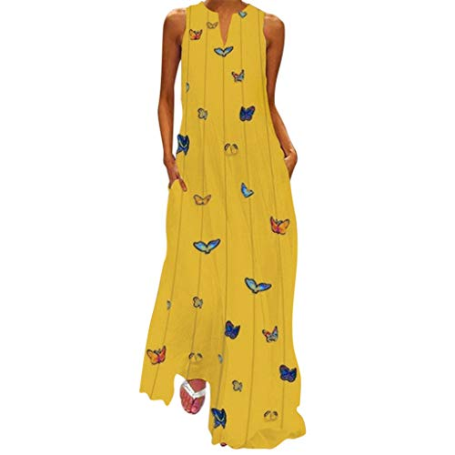 (Maxi Dresses for Women丨Deep V Neck Boho Butterfly Print Summer Casual Sleeveless Dress丨Womens Loose Party Dress Plus Size(Yellow 3,XL))