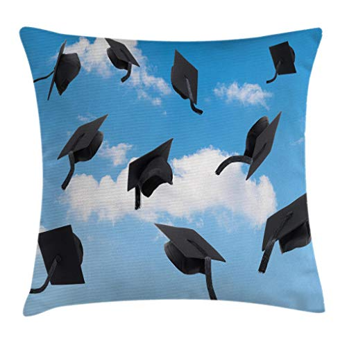 """Ambesonne Graduation Throw Pillow Cushion Cover, Caps Thrown into Sky Last of The School Highschool College Ceremony Picture, Decorative Square Accent Pillow Case, 20"""" X 20"""", Black Blue"""
