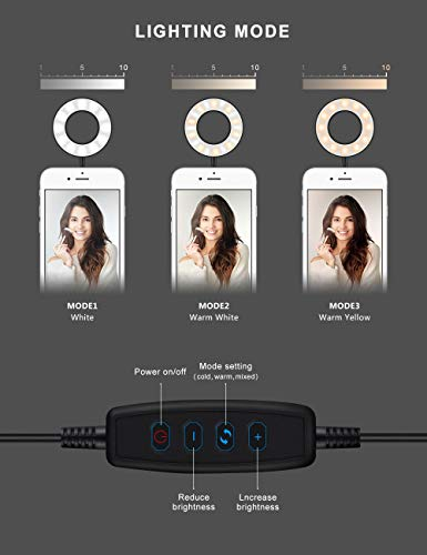 L0WKI Ring Light with Stand for Live Stream-Makeup-Chat,Cell Phone Tripod[3 Light Modes][10 Level Brightness] with Wireless Remote Controller Ring Light for iPhone and Android by Lowki (Image #1)