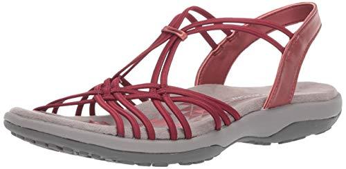 Skechers Women's Reggae Slim-Slip Spliced-Gore Slingback Sandal, red, 8 M US