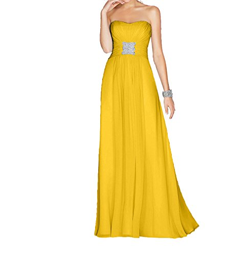 Abendkleider Gelb Linie Brautmutterkleider Elegant Lang A Chiffon Damen Charmant Partykleider Rock Elegant Dunkel x7qIaZA