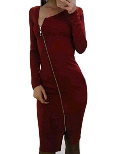 Vino Fessura Girocollo Obliqua Solido Donne Vestito Lato Dell'anca Rosso Zip Comfy Pacchetto 7w8SFF