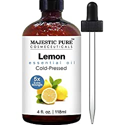 Majestic Pure Lemon Oil, Therapeutic Grade, Premium Quality Lemon Oil, 4 fl. oz