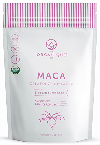 Gelatinized Maca Powder - Certified Organic, Non-GMO, Vegan, Gluten Free, and Nutrient Rich Superfood - Enhances Libido, Energy, Stamina, and Memory - by Organique 16 oz.