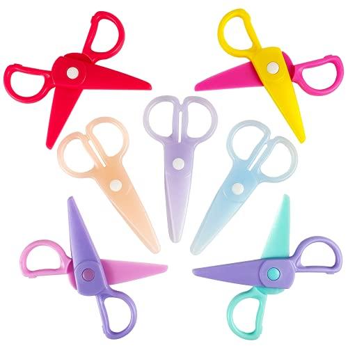 MUXGOA 7 PCS Kids Safety Scissors,Toddler Learning Scissors Plastic Children Safety Scissors for Cutting Tools Paper Craft Supplies
