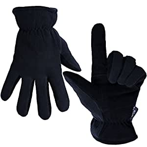 OZERO Deerskin Suede Leather Palm and Polar Fleece Back with Heatlok Insulated Cotton Layer Thermal Gloves, Small - Denim-Black