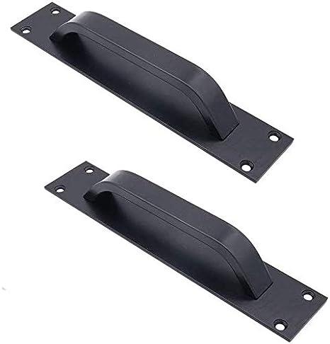 2 tiradores de puerta de granja de aleación de zinc – Tiradores de puerta corredores para puerta cortafuegos, tiradores de puerta de armario (negro)