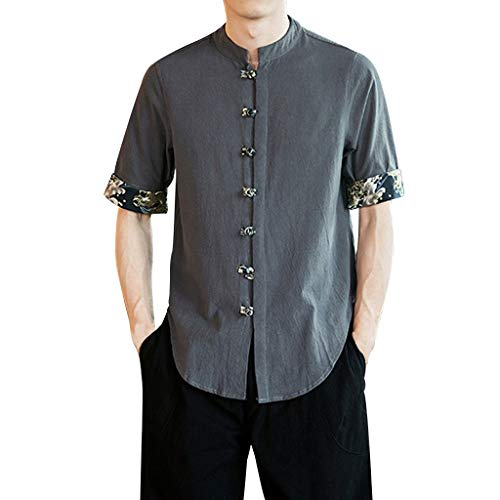 Stoota Men's Vintage Baggy Linen Henley Solid Half Sleeve T Shirts Tops Blouse Gray]()