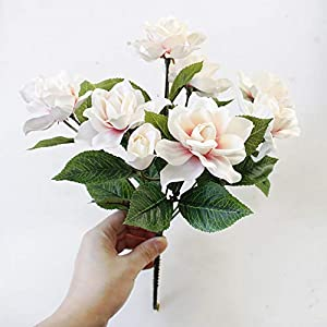DecoForU 2 Packs Artificial Flowers Gardenia Silk Flowers Arrangements for Home Wedding Party Decoration (Pink) 2