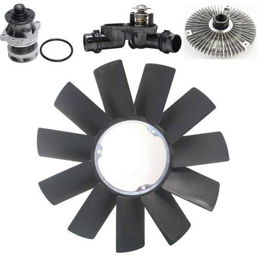 Cooling System Service Kit for Z3 1999-2002/3-Series 1999-2006 Set of 4 w/Fan Clutch Water Pump Fan Blade and Thermostat