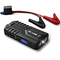 Jump Starter with Lithium Battery Booster for 12V Vehicle Boat,Up to 8.4L Gas, 5.5L Diesel Engine,Built-in Safety Hammer,Red Blue Ultra-Bright LED Flashlight and 12000mAh Power Bank