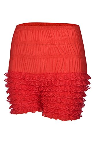 Women Sexy Ruffled Lace Panties Sissy Pettipant Dance Bloomers Frilly Shorts (Red, Large)