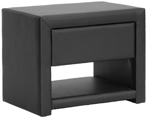 picture of Baxton Studio Massey Upholstered Modern Nightstand, Black