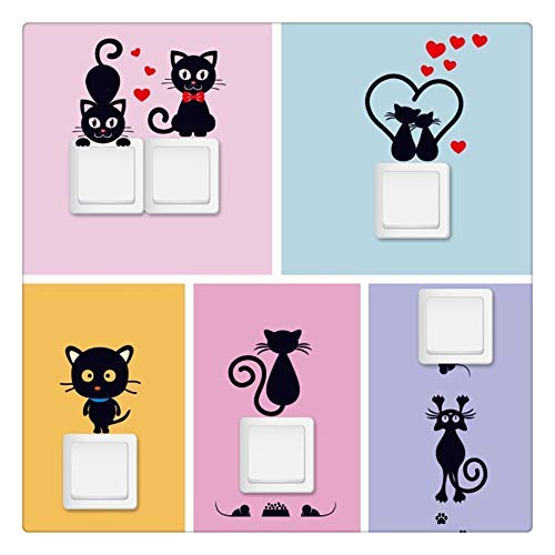 (ninepaipai 5PCS New Cartoon Cat Switch Stickers Home Decoration Wall Stickers for Living Room Bedroom)
