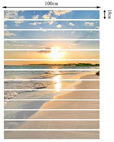 FLFK 13PCS/Set 3D Sunrise Ocean Beach Self-Adhesive Stair Risers Stickers Vinyl Staircase Stickers Stairway Decal Wallpaper 39.3Inch x7.08Inch by FLFK (Image #2)