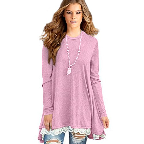Sunfung Women's Lace Long Sleeve Tunic Tops Shirt Clothing Scoop Neck Womens Plus Size Tunic Blouses Tops (Large/US 12-14, Pink)