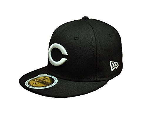 New Era Cincinnati Red Black/white Youth's 59fifty Fitted Hat Cap Mlb Baseball Kids (6 (Black 59fifty Youth Fitted Cap)