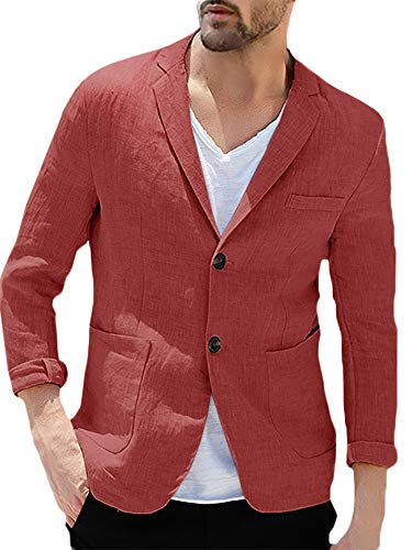 - Taoliyuan Mens Linen Sport Coat Blazer Casual Tailored Slim Fit Lightweight Two Buttons Half Lined Suit Jacket (Large, Two Buttons-Red)