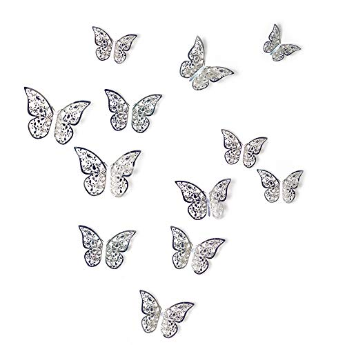 aooyaoo 12Pcs Golden 3D Butterfly Man-Made Removable Art Decorations Wall Stickers Wall Decals Butterfly Bookmark (Silver)