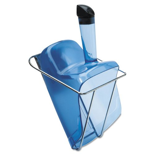 Rubbermaid Commercial Hand-Guard Scoop with Holder, 74oz, Transparent Blue - one scoop with holder. (Scoop Holder Safe Ice)