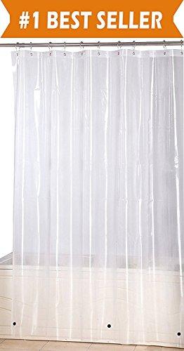 Elegant Comfort Water-Repellent Antibacterial and Mildew Resistant Heavy-Weight Waterproof Clear Shower Curtain Liner, 72