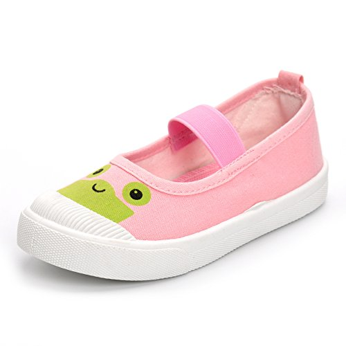 Pink Canvas Mary Jane (Boys Girls Shoes Slip-On Casual Canvas Sneaker Mary Jane, Pink, 12 M US Little Kid)