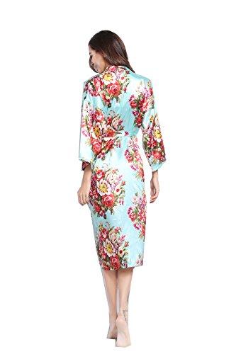 r Long floral robe Bride Kimono bridesmaid Robe satin Night dress (mint) ()