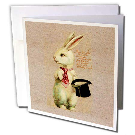 3dRose Uta Naumann Sayings and Typography - Victorian Vintage Spring Easter Bunny Illustration and Typography - 1 Greeting Card with Envelope (gc_293209_5)